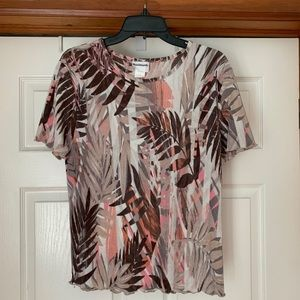 Bon Worth tropical blouse petite small pink brown